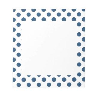 Navy Blue White Polka Dots Pattern Notepad