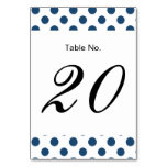 Navy Blue White Polka Dots Pattern Table Card