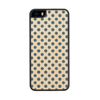 Navy Blue White Polka Dots Pattern Wood Phone Case For iPhone SE/5/5s