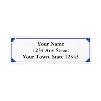 Navy Blue & White Printed Return Address Labels