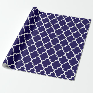 Navy Blue White Quatrefoil Custom Background Color Wrapping Paper