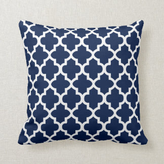 Navy Blue & White Quatrefoil Design | DIY Color Throw Pillow