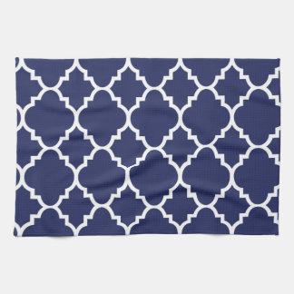 Navy Blue White Quatrefoil Moroccan Pattern Kitchen Towel
