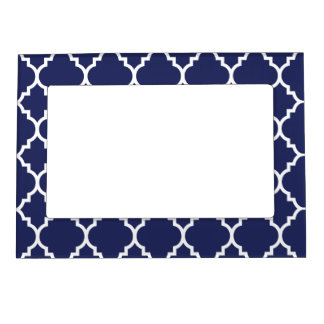 Navy Blue White Quatrefoil Moroccan Pattern Magnetic Picture Frame