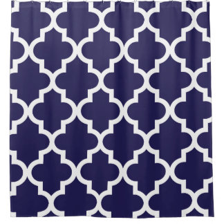 Navy Blue White Quatrefoil Pattern Shower Curtain