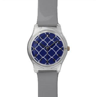 Navy Blue White Quatrefoil Pattern Watches