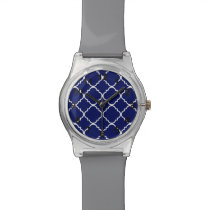 Navy Blue White Quatrefoil Pattern Wrist Watch