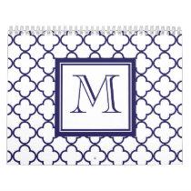 Navy Blue, White Quatrefoil | Your Monogram Calendar