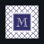 """Navy Blue, White Quatrefoil 