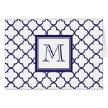 Navy Blue, White Quatrefoil | Your Monogram Stationery Note Card
