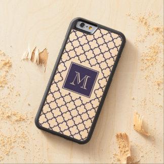 Navy Blue, White Quatrefoil | Your Monogram Carved® Maple iPhone 6 Bumper Case