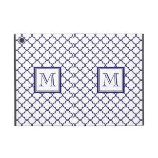 Navy Blue, White Quatrefoil | Your Monogram Covers For iPad Mini