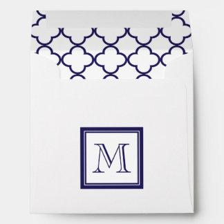 Navy Blue, White Quatrefoil | Your Monogram Envelope