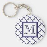 Navy Blue, White Quatrefoil | Your Monogram Key Chain