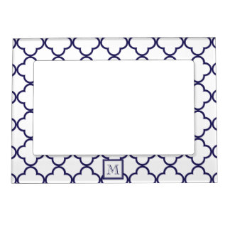 Navy Blue, White Quatrefoil | Your Monogram Picture Frame Magnets