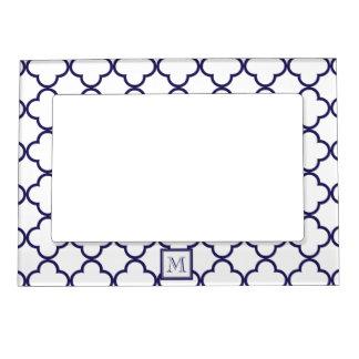 Navy Blue, White Quatrefoil | Your Monogram Magnetic Photo Frame