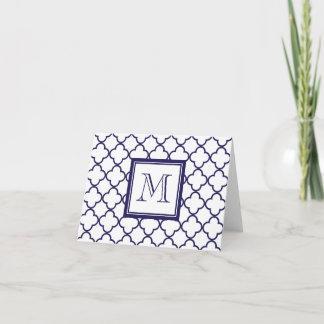 Navy Blue, White Quatrefoil | Your Monogram Note Card