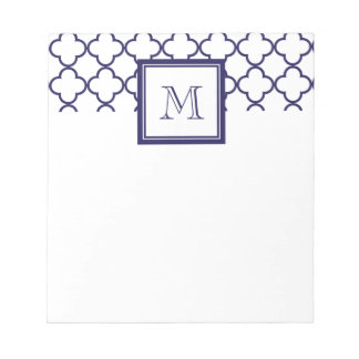 Navy Blue, White Quatrefoil | Your Monogram Notepad