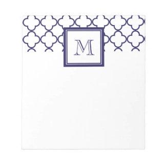 Navy Blue, White Quatrefoil | Your Monogram Notepad