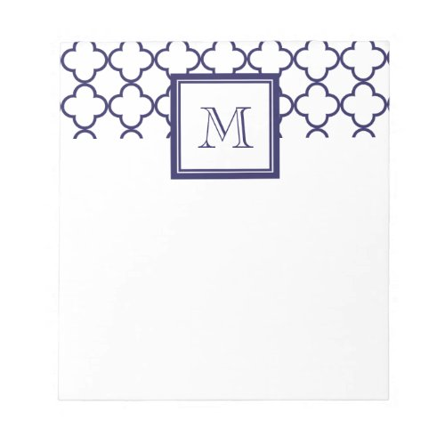 Navy Blue White Quatrefoil  Your Monogram Notepad