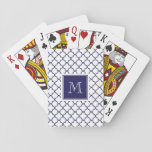 "Navy Blue, White Quatrefoil | Your Monogram Playing Cards<br><div class=""desc"">Navy blue and white quatrefoil pattern 2 with a square tag containing an elegant monogram or initial you can customize. GraphicsByMimi&#169; A trendy pattern design for her. Use the template field or select ""customize it"" for more editing options to make your own, unique, one of a kind design with your...</div>"