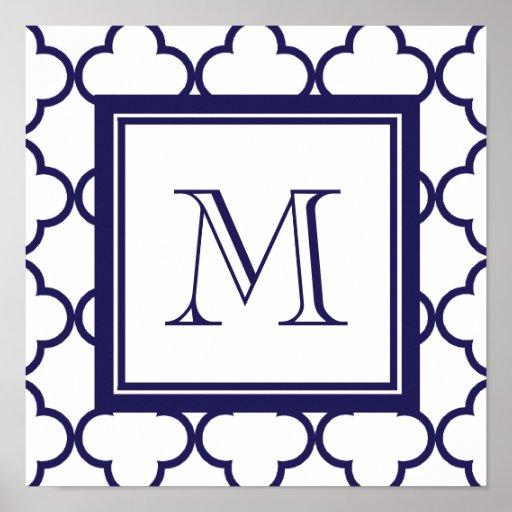 Navy Blue, White Quatrefoil | Your Monogram Poster