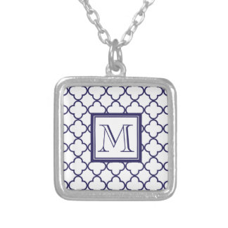 Navy Blue, White Quatrefoil | Your Monogram Silver Plated Necklace