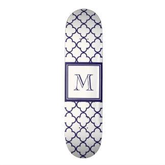 Navy Blue, White Quatrefoil | Your Monogram Custom Skateboard