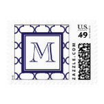 Navy Blue, White Quatrefoil | Your Monogram Stamp
