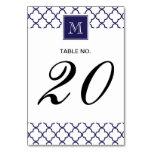 Navy Blue, White Quatrefoil | Your Monogram Table Cards