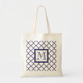 Navy Blue, White Quatrefoil | Your Monogram Tote Bag