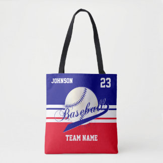 Navy Blue, White, Red for a Baseball Team Tote Bag