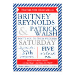 "Navy Blue White Red Nautical Wedding Invitations 5"" X 7"" Invitation Card"