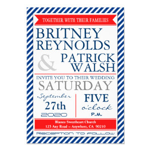 Navy Blue White Red Nautical Wedding Invitations 5