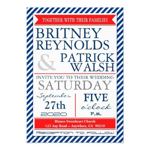 "Navy Blue White Red Nautical Wedding Invitations 5"" X 7"" Invitation Card"