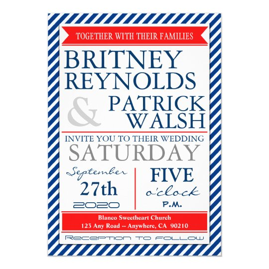 Navy Blue White Red Nautical Wedding Invitations