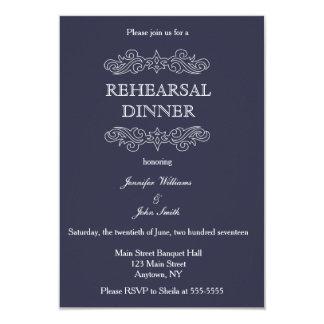 Navy Blue & White Rehearsal Dinner Invitations