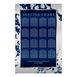 Navy Blue, White Satin & Silver - Seating Chart Poster