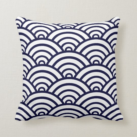 Navy Blue & White Scallop Pattern Throw Pillow Zazzle
