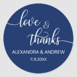"""Navy Blue White Script Wedding Love &amp; Thanks Classic Round Sticker<br><div class=""""desc"""">Add these gorgeous small round envelope sticker seals LOVE &amp; THANKS to your wedding thank you envelopes or any other item such as gifts or favors. Lovely elegant white script calligraphy letters swirl topography design. Background color can be easily changed to match your color hues. You will surely impress everyone...</div>"""