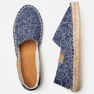 Navy Blue White Scrolling Curves Abstract Pattern Espadrilles
