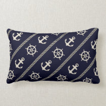 Navy Blue White Ship Wheel Anchor Nautical Boys Lumbar Pillow