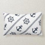 Navy Blue White Ship Wheel Anchor Nautical Boys Pillows