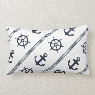 Navy Blue White Ship Wheel Anchor Nautical Boys Pillow