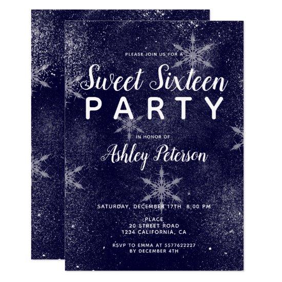 Navy blue white snowflakes winter sweet 16 invitation
