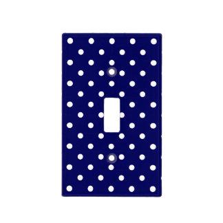 Navy Blue White Spotty Polka Dot Pattern Light Switch Plates