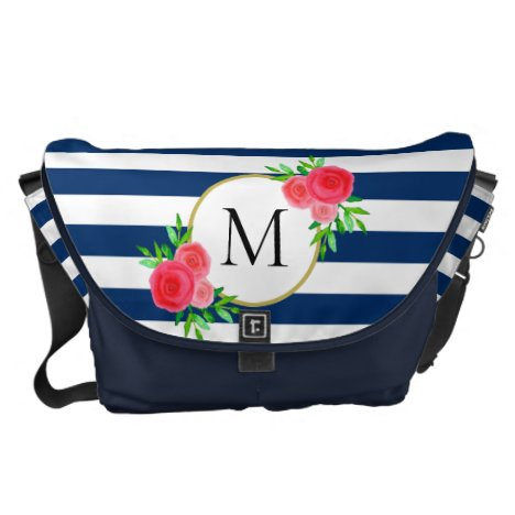 Navy Blue White Stripe Coral Floral Monogram Large Courier Bag