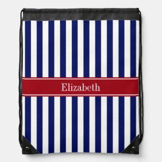 Navy Blue White Stripe Cranberry Name Monogram Drawstring Backpack