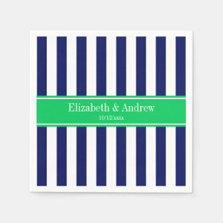 Navy Blue White Stripe Emerald Green Name Monogram Napkin