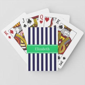 Navy Blue White Stripe Emerald Green Name Monogram Playing Cards
